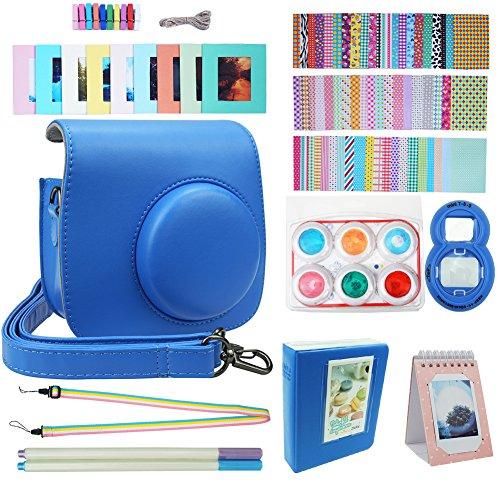Blummy Instax Mini 9 Accessories Bundles for Fujifilm Instax Mini 8/ Mini 8+/ Mini 9 Instant Camera Including Camera Case/Book Album/Selfie Len/Wall Hanging Frames/Stickers/Strap/Pen (Cobalt Blue)