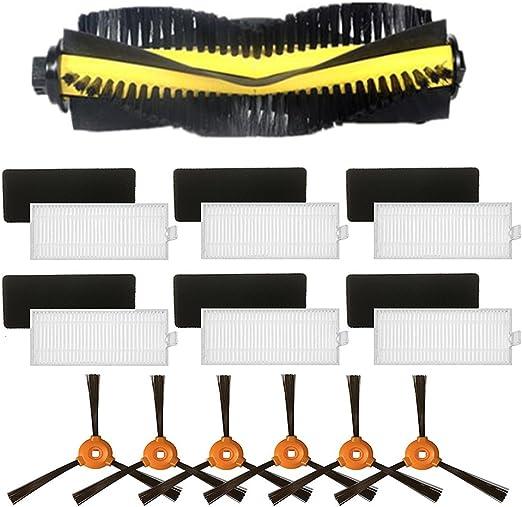louu 1pcs cepillo con ruedas (para + 6 pcs cepillo lateral + 6 pcs HEPA filtro + 6 pcs esponja para eufy robovac 11, eufy robovac 11 C Robot aspirador piezas: Amazon.es: Hogar