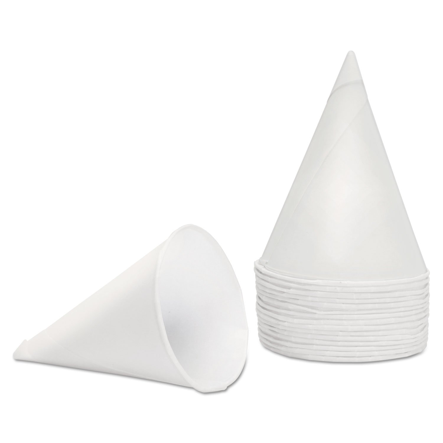 Konie 45KBR Rolled Rim, Poly Bagged  Paper Cone Cups, 4.5oz, White (Case of 5000)