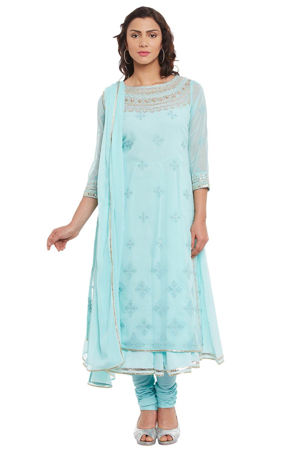 BIBA Women's Sky Blue Poly Cotton Kalidar Suit Set 36