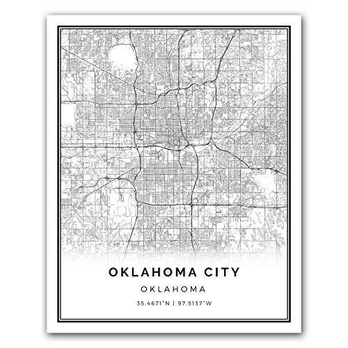 Oklahoma City map poster print | Modern black and white wall art | Scandinavian home decor | Oklahoma City prints artwork | Fine art posters 16x20 ()