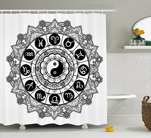 Ambesonne Ying Yang Decor Shower Curtain Set, Round Zodiac Theme Design with Yin Yang Symbol in Centre Astrological Signs Print Bathroom Accessories, 69W X 70L Inches, Black and White ()