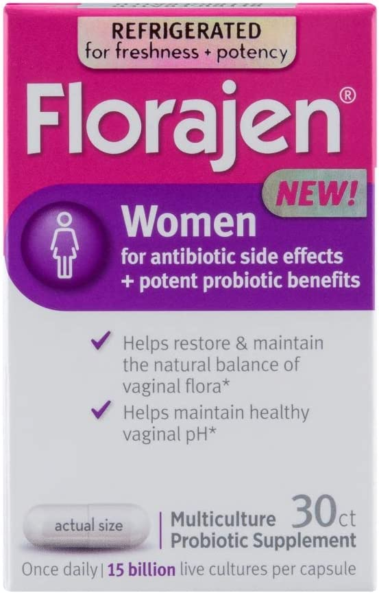Florajen Women High Potency Refrigerated Probiotics   Maintains Women's Health   for Antibiotic Side Effects   30 Capsules