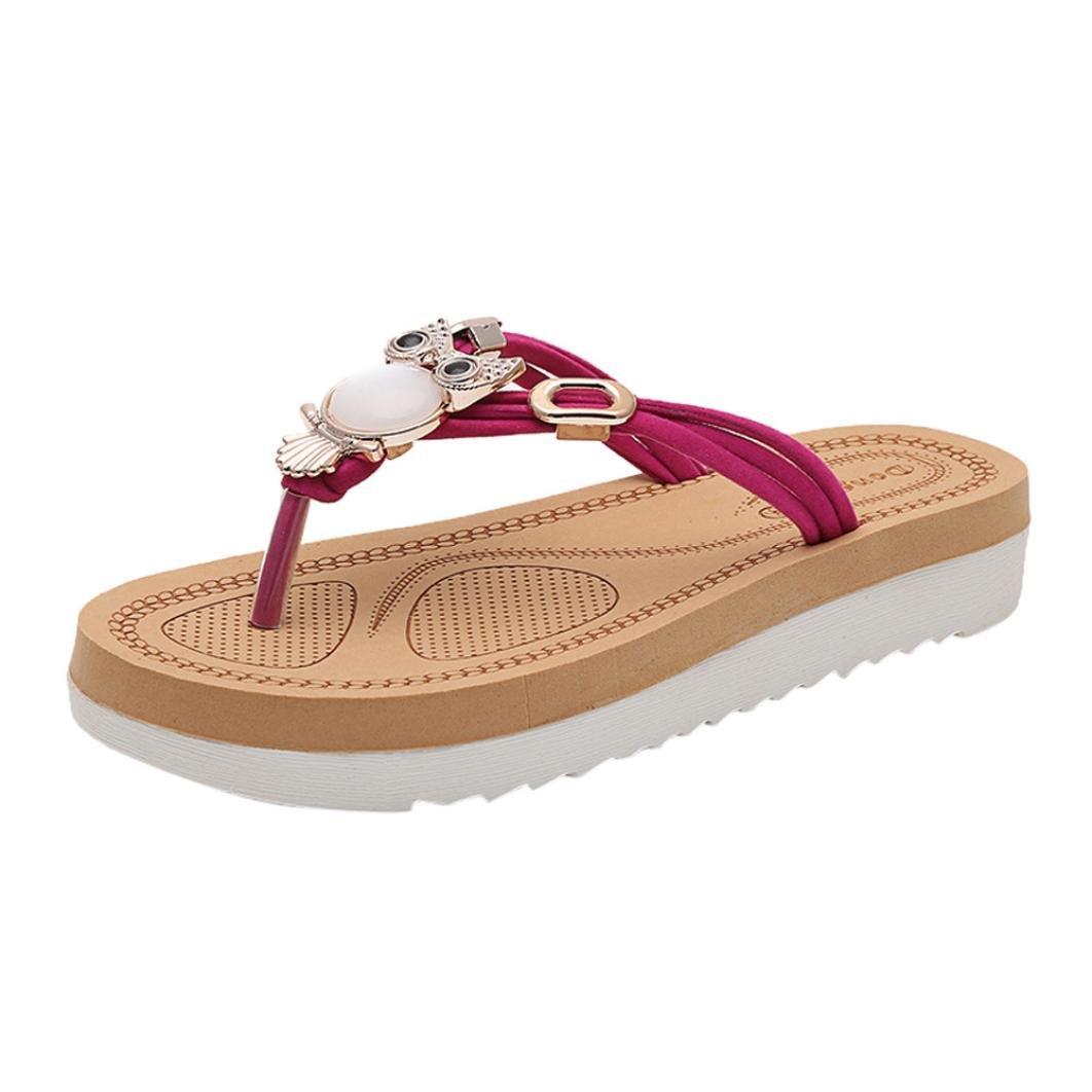 Sandales Plates,Chaussures,Escarpins,Femme 19993 Couleur Pure Chaussures Bohême Strass Fond Chaussures épais Sandales Pantoufles Chaussures de Plage Chaussures à Plateforme Rose fa9e96f - automatisms.space