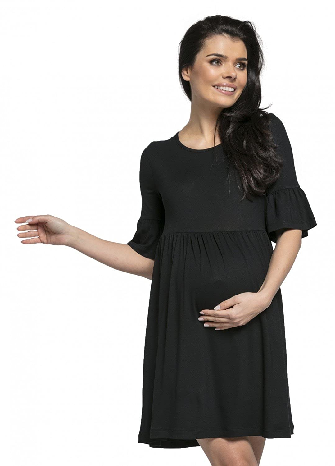 Happy Mama. Donna Vestito Prémaman Abito Girocollo Mezza Manica. 611 611_maternitydress