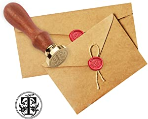 Wax Seal Stamp with Wooden Handle - Letter T Wax Badge Head Retro Classical Envelope Seal Kit for Wedding Birthday Invitation Card
