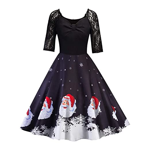 7183b8792dca Minisoya Christmas Women Half Sleeve Lace Patchwork Santa Claus Snowflake Printed  Vintage Gown Party Swing Dress