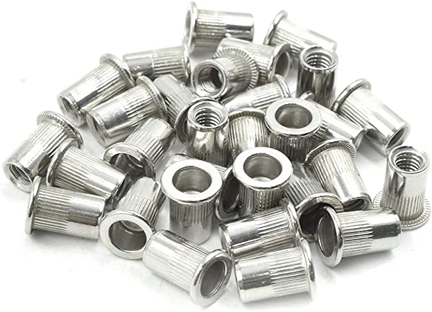 binifiMux 30pcs 304 Stainless Steel M5-0.8mm Hex Flange Nylon Inserted Self Lock Nuts