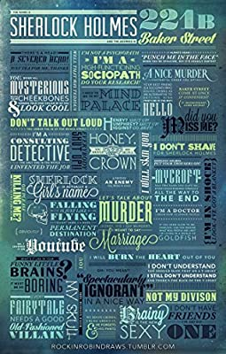 """Sherlock Holmes Motivatioinal Quotes Poster Print (12x18"""" Rolled)"""