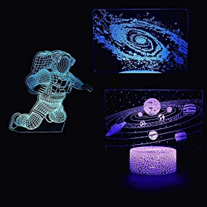 3D Illusion Spaceman Night Light, Astronaut Planet Optical Illusion Lamp Home Decor Bedroom Light with Three Pattern and 7 Color Change Decor Lamp - Perfect Gifts for Kids and Space Fans Boy Child