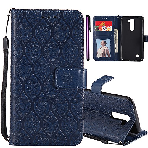 LG Stylo 2 Plus Case LG LS775 Case ISADENSER Useful Wallet with Photo Frame Card & Cash Slots Premium PU Leather [Kickstand] Folio Flip Protective Cover for LG Stylo 2 Plus LG LS775 Rattan Navy Blue