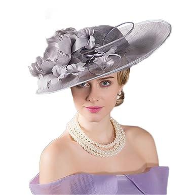 Royal Wedding Hats Big Wide Brim Sinamay Church Hats Kentucky Derby Floral  Fedora at Amazon Women s Clothing store  811d52820aa