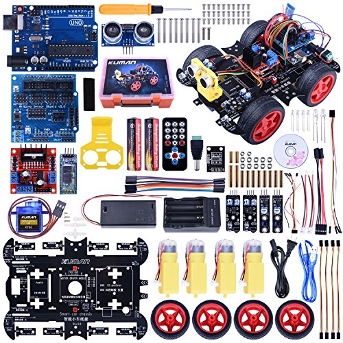 Kuman Upgraded Bluetooth RC Smart Robot Car Kit, Uno R3 Robotics Kit Building Sets With Line Tracking Module,Ultrasonic Sensor,Servo Motor,LED,buzzer Horn,Tutorials For Arduino Project Beginner,Kid