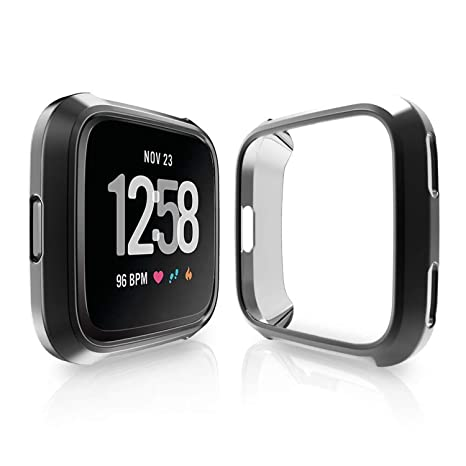 Funda para Fitbit Versa, carcasa de silicona ultrafina con cobertura de protección completa para reloj