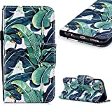 Cistor Wallet Case for iPhone 6 Plus/6S Plus,Fancy 3D Painting Magnetic Closure Flip Cover Shockproof PU Leather Stand Protective Case with Wrist Strap Card Slot for iPhone 6 Plus/6S Plus,Banana Tree