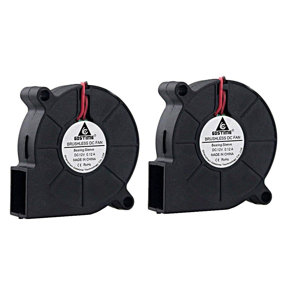 GDSTIME 2 Pack 50mm x 15mm 5015 12v 4500rpm DC Brushless Cooling Blower Fan