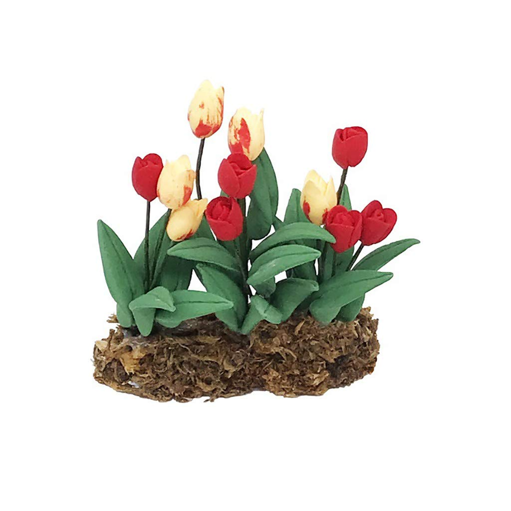 Binory Mini Wall Hanging Flower in Pot for 1/12 Dollhouse Furniture,Fashion Modern Design Miniature Home Living Room Kids Pretend Toy,Creative Birthday Handcraft Gift(Red)