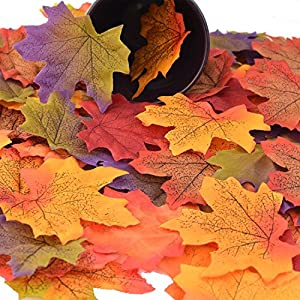 Pistha Artificial Fall Maple Leaves – 300 PCS Artificial Maple Leaves Artificial Maple Leaf Art Flowers for Party and Weddings 2