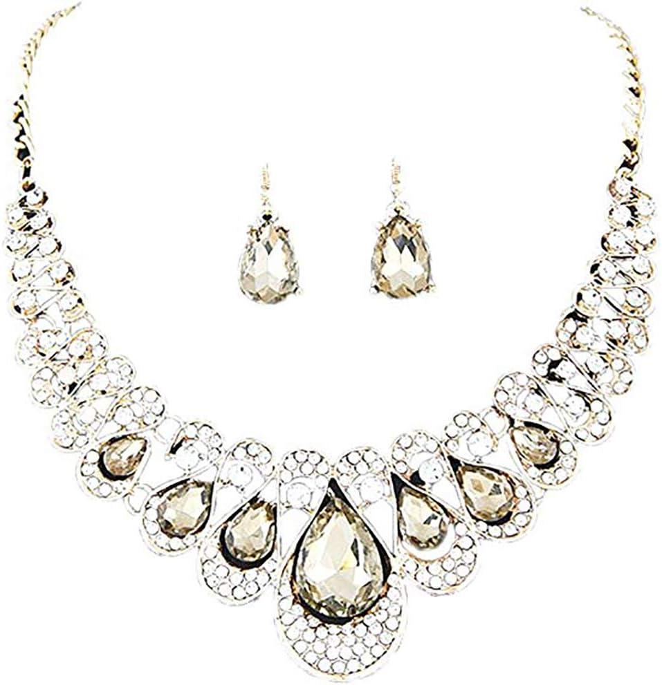 Scrox 2pcs Juego de Joyas Mujeres Plata Moda Vestido Conjunto Joyería Collar Piedras Preciosas Colgante Brillante Pendientes Pulsera Anillo (Amarillo Claro)