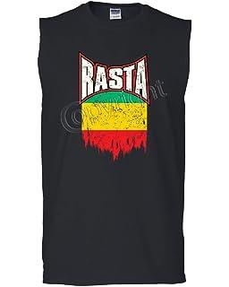 Rasta Cat Muscle Shirt Smoking Joint 420 Jamaica Marijuana Pot Weed Sleeveless