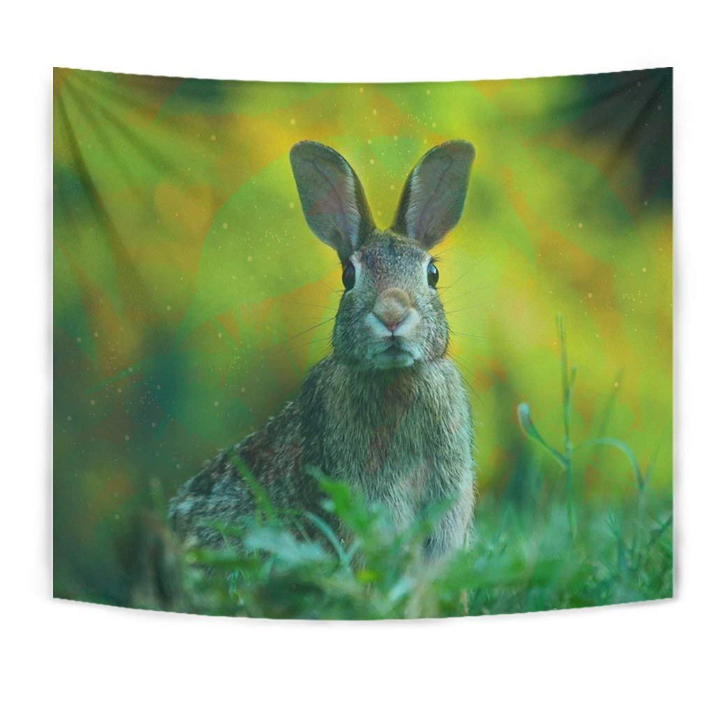 Cute Rabbit Print Tapestry by Paws With Attitude