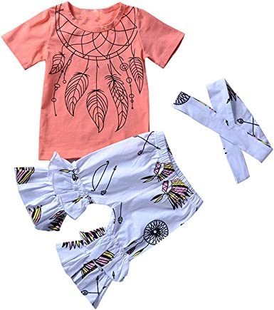 KONFA Long Sleeve Letter Romper+Ruched Floral Print Pants+Hat 3Pcs Outfits for Toddler Kids Newborn Baby Girls Spring Clothes