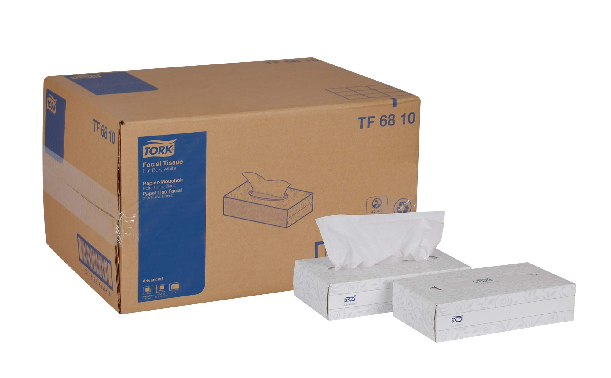 Tork Advanced TF6810 Facial Tissue, Flat Box, 2-Ply, 8.2'' Width x 7.9'' Length, White (Case of 30 Boxes, 100 per Box, 3,000 Sheets) by Tork
