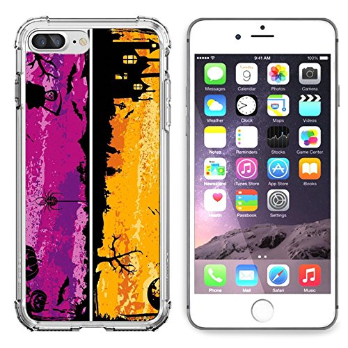 MSD Apple iPhone 6 Plus iPhone 6S Plus Clear case Soft TPU Rubber Silicone Bumper Snap Cases iPhone6 Plus/6S Plus IMAGE ID: 5493137 Three grunge Halloween with bat pumpkin witch (Desi Halloween)