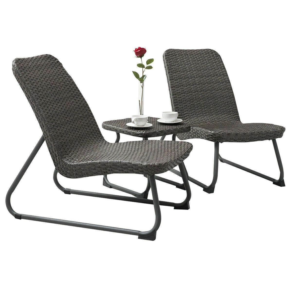 Antik shop Outdoor 3 Piece All Weather Patio Garden Conversation Chair & Table Set Gray by Antik shop