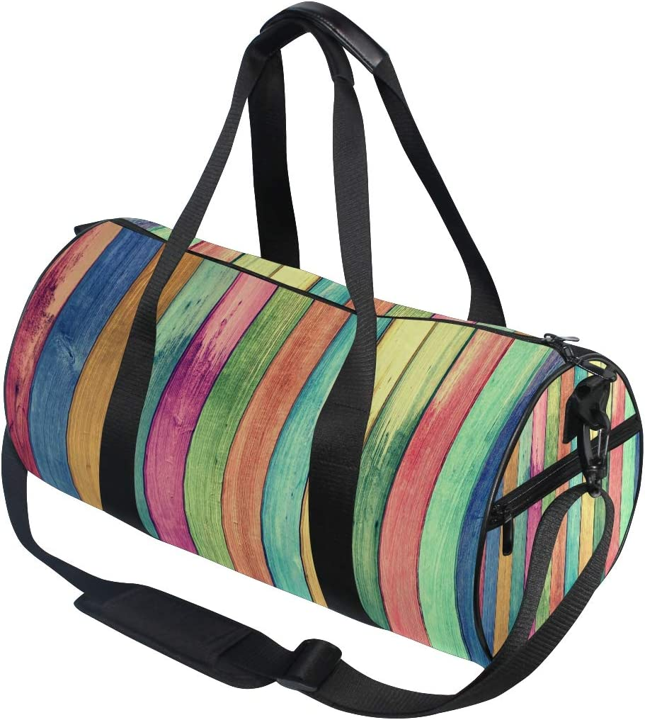 Gym Bag Rainbow Colors Wood Board Women Canvas Duffel Bag Cute Sports Bag for Girls