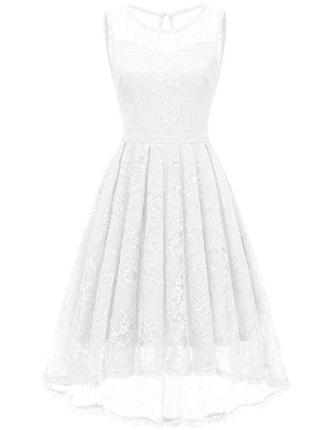8e67a42337 Gardenwed Women s Retro Lace High-Low Homecoming Dress Cocktail Party Gown  Bridesmaid Dress White XS