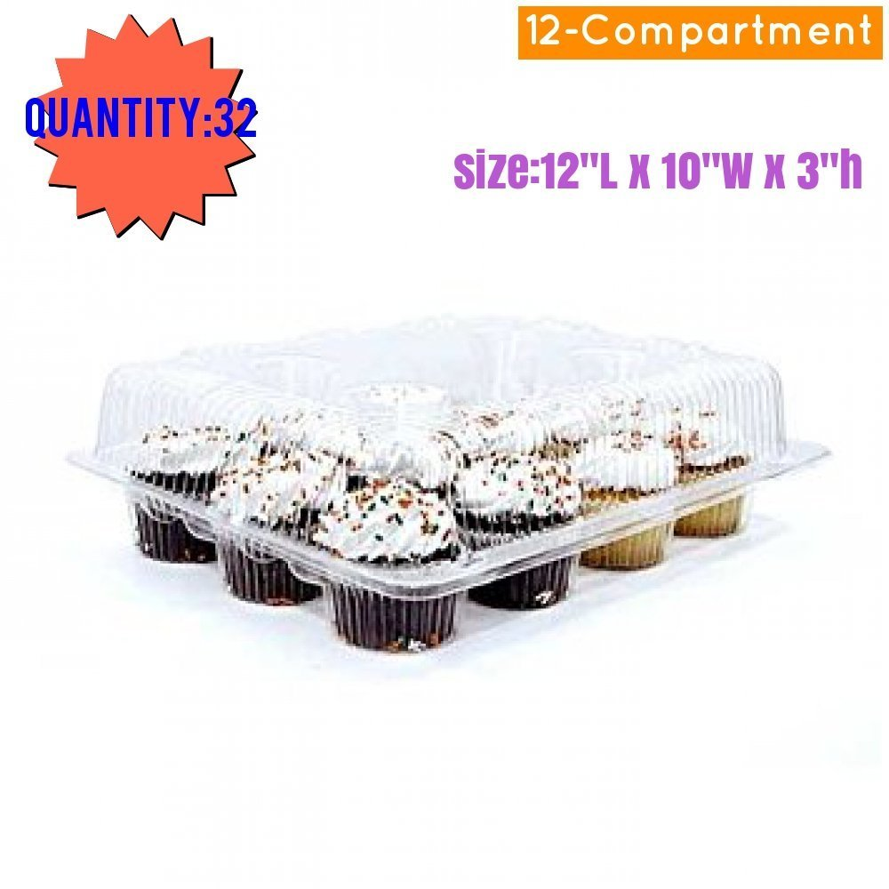 Cupcake and Muffin Containers with Superior Hinged Lid, Clear 12-Compartment, Strong and Sturdy, BPA Free, crystal Clear Plastic,( pack of 32) by The Bakers Pantry (Image #4)