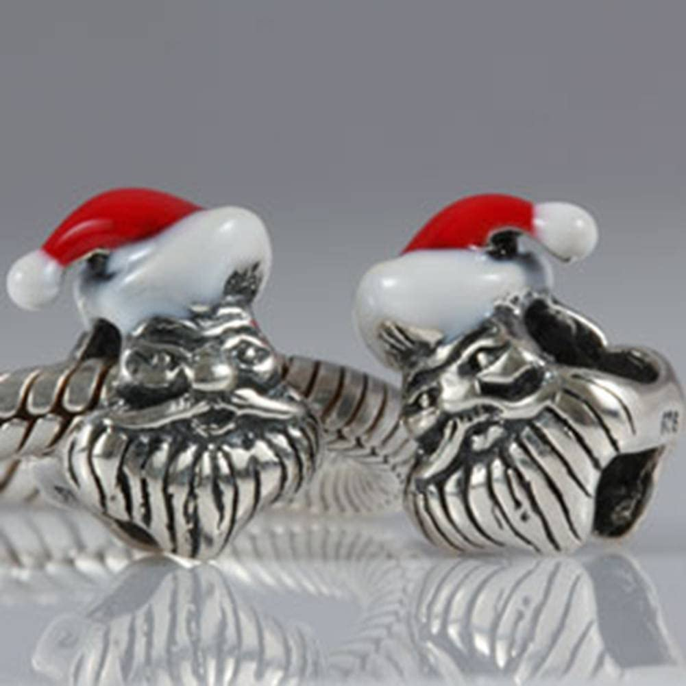 Choruslove Father Christmas Santa Claus Charm 925 Stelring Silver Bead with Red Hat for European XmasBracelets