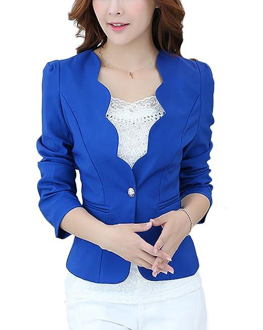 ZhuiKun Chaqueta Corta de Traje de Negocios para Mujer Blazers Elegante Azul M: Amazon.es: Ropa y accesorios