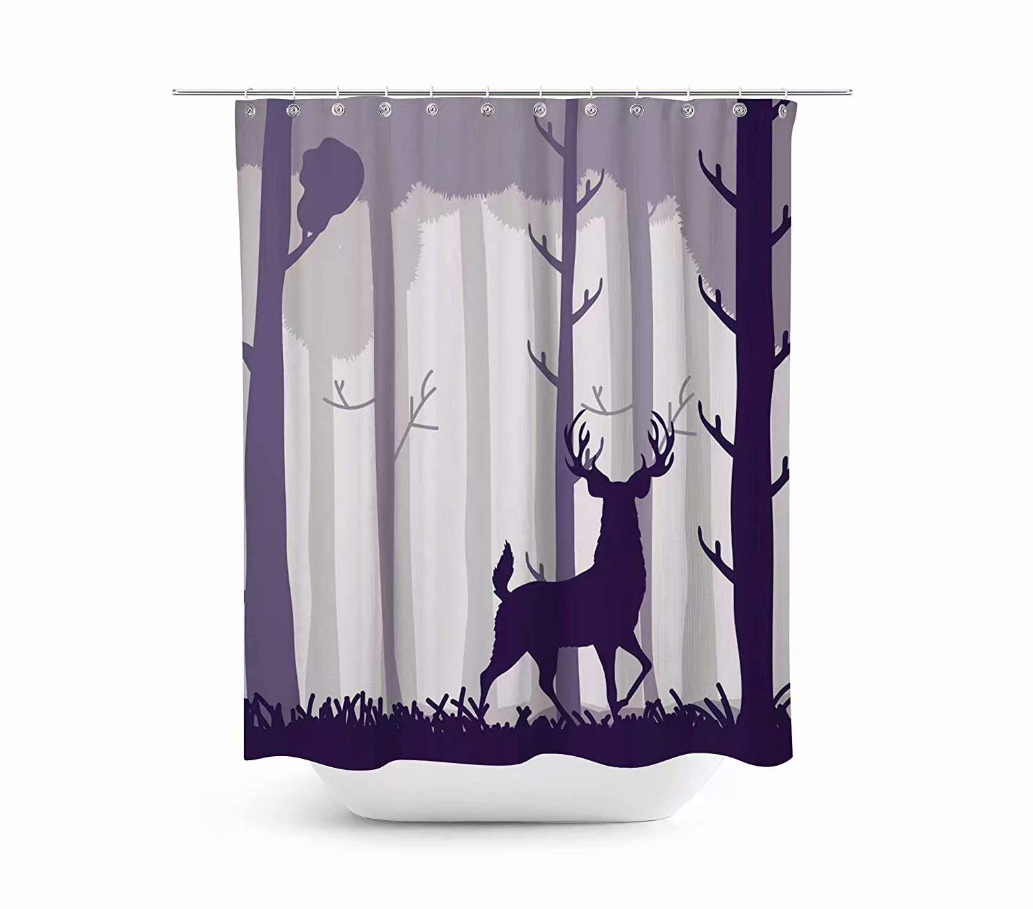 KANATSIU Deep Purple Silhouette Deer Forest Shower Curtain 12 plactic Hooks,100% Made Polyester,Mildew Resistant & Machine Washable,Width x Height is 72X72