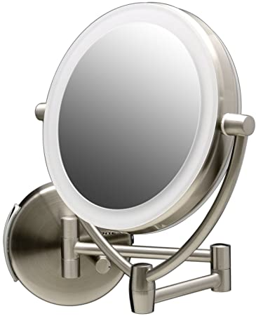 Amazon Com Ovente Wall Mounted Makeup Mirror 7 5 Inch With 10x Magnification And Diffused Led Ring Lights Double Sided With 360 Degree Swivel Design 2 Choices Of Power Supply Nickel Brushed Mlw75br1x10x Beauty