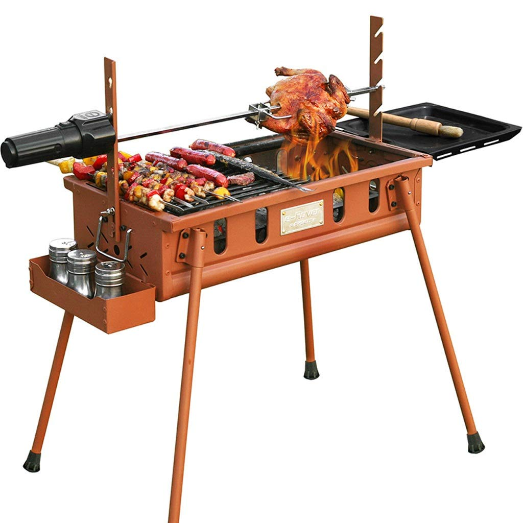 WANG XIN Wild Barbecue Charcoal Barbecue Stove Household Barbecue Outdoor Folding Barbecue Tool Iron Red