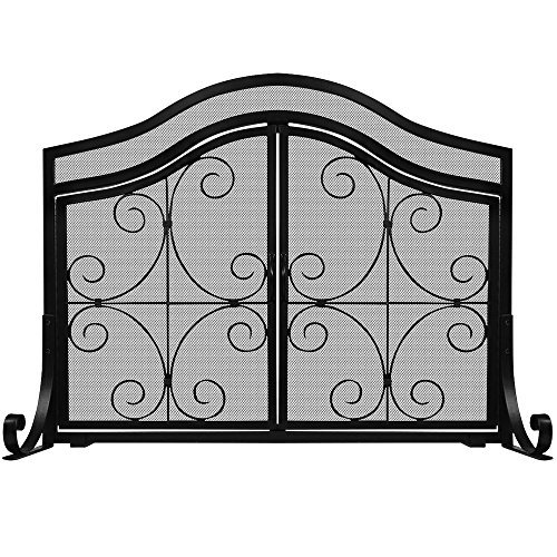 Amagabeli Flat Guard Firplace Screen with Doors Outdoor Large Metal Decorative Mesh Solid Baby Safety Proof Fench Wood Burning Stove Screens Wrought Iron Fire place Panels Cover Black