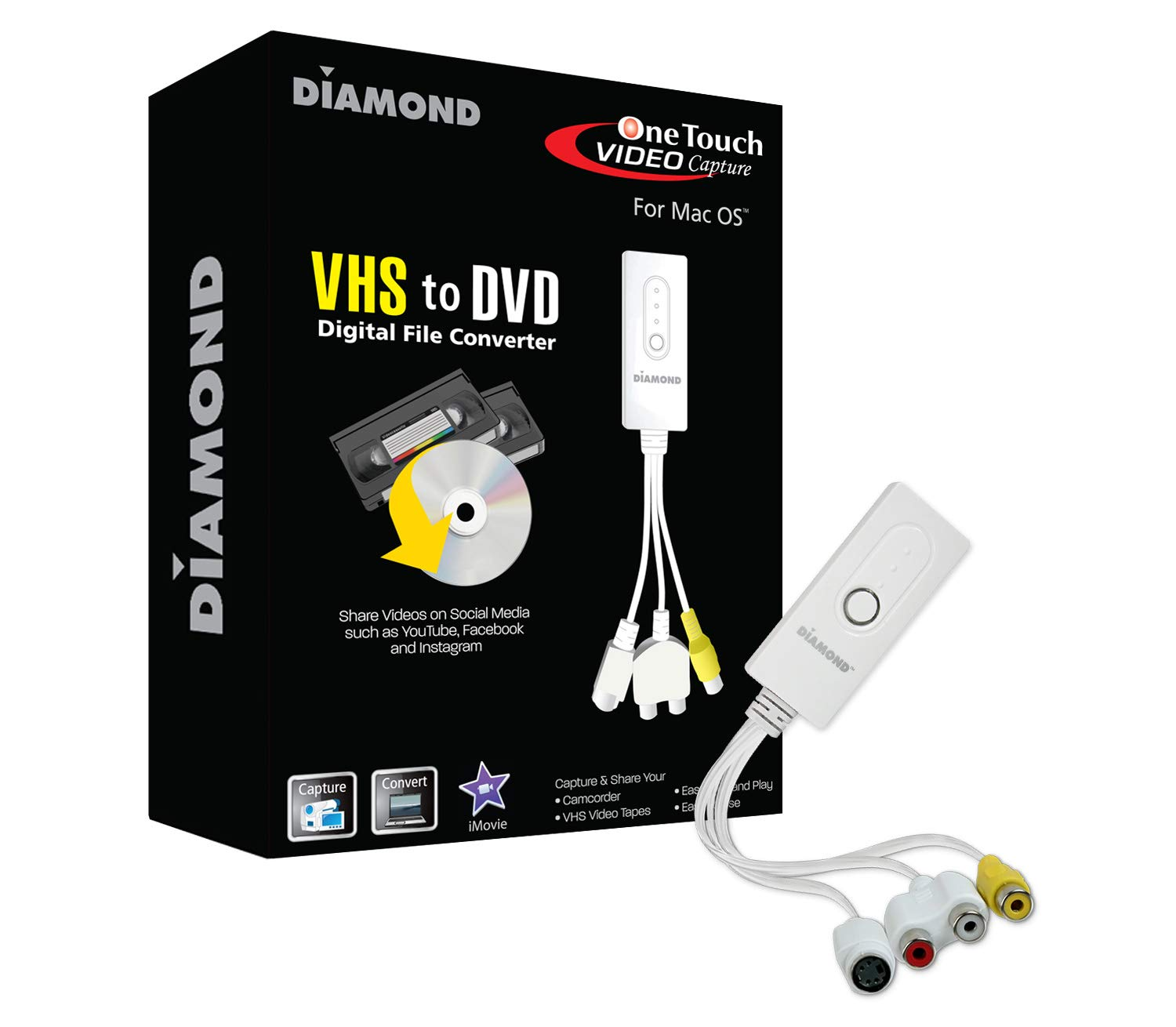 Diamond Multimedia VC500MAC USB 2.0 One Touch VHS to DVD Video Capture Device with Easy to Use Software, Convert, Edit and Save to Digital Files for MacOS by Diamond Multimedia