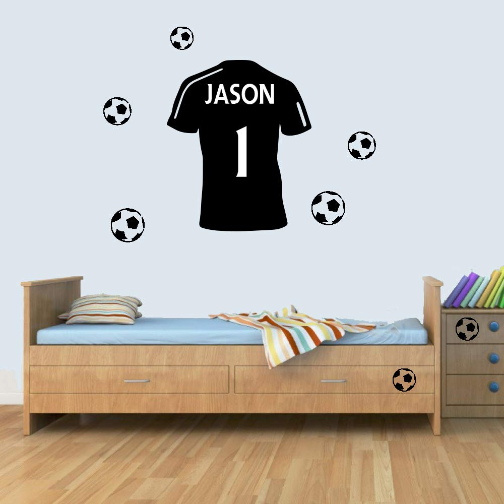 L customisable personalised football shirt childrens name wall art decal vinyl stickers for boys girls bedroom amazon co uk kitchen home