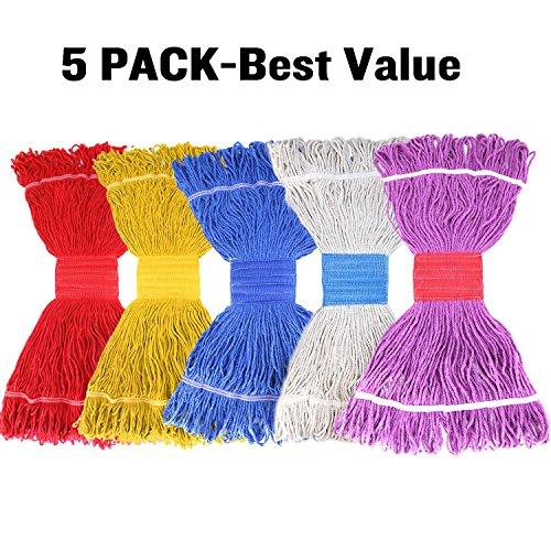 addle Mop Head Refill Heavy Duty Looped-End String Mop Commercial Swinger Mop Head Refill Blend Mop (5 Pack Random Color) (Blend Mop Head)