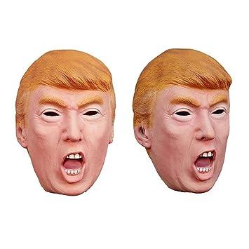 American Trump Donald Latex Mask Juego De 2, Boca Abierta Candidato Multimillonario Político, Vestido