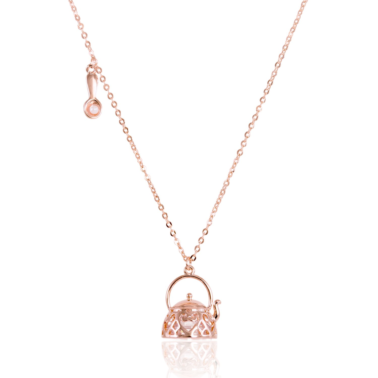 ISAACSONG.DESIGN Gold/Silver Plated Engraved Love Heart Teapot Floating CZ Crystal Charm Tiny Spoon on Side Pendant Necklace for Women and Girls INC. ISNL0300/0301