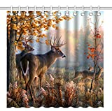 Wknoon 72 x 72 Inch Shower Curtain,Autumn Nature Wildlife Animal Deers Hunting Season,Waterproof Polyester Fabric Decorative Bathroom Bath Curtains