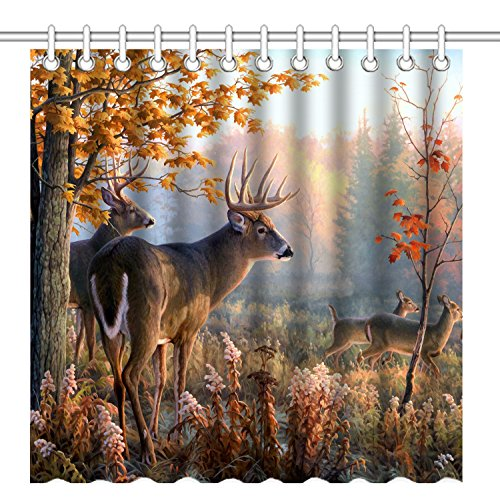 Wknoon 72 x 72 Inch Shower Curtain,Autumn Nature Wildlife Animal Deers Hunting Season,Waterproof Polyester Fabric Decorative Bathroom Bath