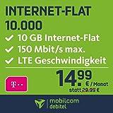 mobilcom-debitel Telekom Internet-Flat 10.000 mit 10 GB LTE Internet Flat max. 150 MBit/s, Nationale Datenflatrate, 24 Monate Laufzeit,  monatlich nur 14,99 EUR, Triple-Sim-Karten