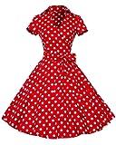 YiLianDa Rétro Vintage Années 50 's Style Audrey Hepburn Rockabilly Swing Robe de Bal à Manches Courtes