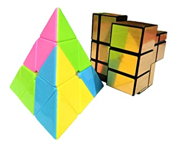 Mahvi Toys Stickerless Colourful Triangular Pyramid Shaped 3 x 3 x 3 Golden Mirror Magic Rubix Cube (Multicolour)