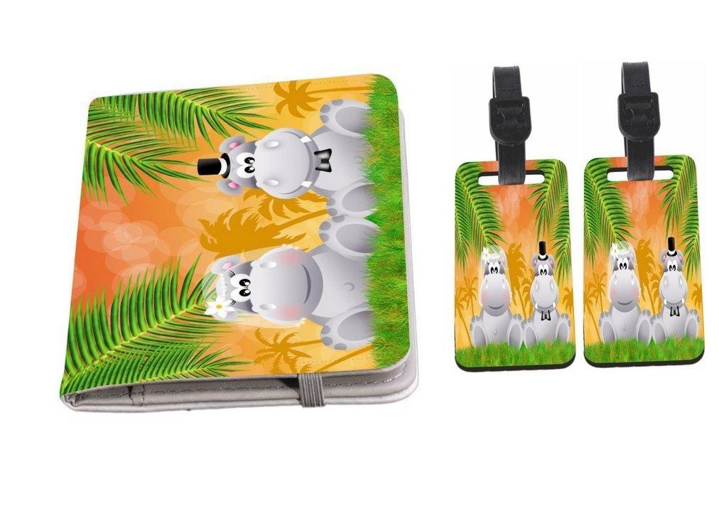 Rikki Knight Hippos in Love Wedding Illustration Passport Holder + Luggage Identifier Tags