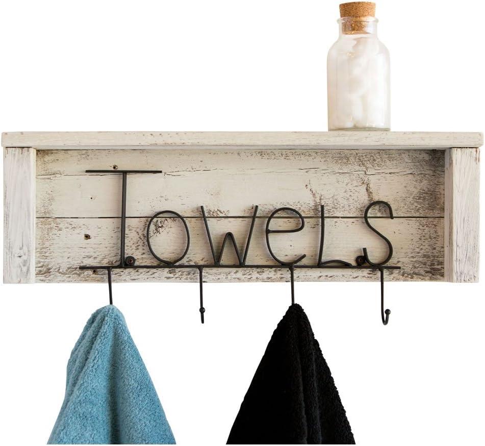 White Reclaimed Towel Rack 24 Inch